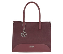 Satchel Bag Logo Charm Burgundy Tote