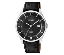 Uhr Leather Wristwatch Black Silver