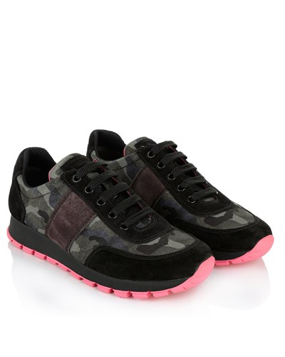 prada damen prada linea rossa sneakers sneaker tec camouflage pink in pink schwarz. Black Bedroom Furniture Sets. Home Design Ideas