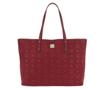 Dieter Monogrammed Nylon Top Zip Shopper Ruby Tan Tote