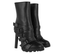 Boots Heeled Ankle Leather Black