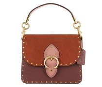 Satchel Bag Colorblock Mixed Leather Beat Shoulder 18 Rust Multi