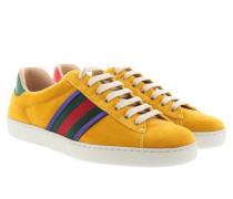 Ace Velvet Low-Top Sneakers Yellow Sneakers