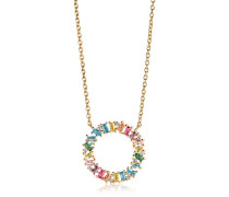 Halskette Antella Circolo Grande Necklace Multicoloured Zirconia 18K Gold Plated