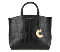 Umhängetasche Sortie Croco Shiny Soft Satchel Bag Leather Noir