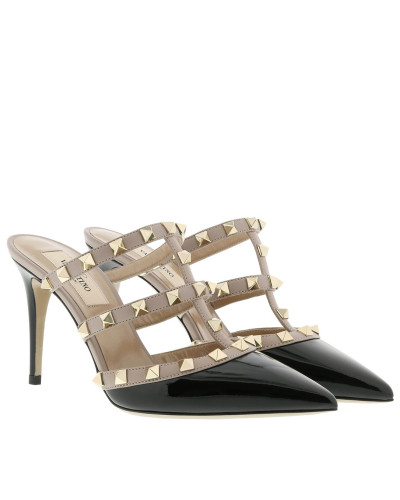 Rockstud High Heel Mules Patent Leather Nero/Poudre Pumps