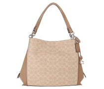 Hobo Bag Coated Canvas Signature Dalton Shoulder Sand Taupe