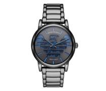Uhren Three-Hand Gunmetal Stainless Steel Watch