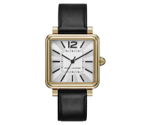 Armbanduhr - Vic Leather Strap Watch Gold-Tone Black