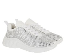 Sneakers Crystal Embellished Satin White