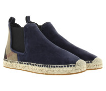 Boots & Booties - Canvas Check Bainsford Flat Espadrille Chelsea Boot Navy