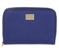 Portafoglio Zip Around Vitello Structured Dauphine Blu 2 Portemonnaie