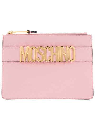 moschino damen moschino tasche logo pochette pink in rosa abendtasche f r damen reduziert. Black Bedroom Furniture Sets. Home Design Ideas