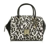Guess Tasche - Rosalind Paxton Satchel Snow Leopard - in weiß, schwarz - Henkeltasche für Damen
