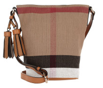 Mini Susanna Canvas Check Saddle Brown Beuteltasche beige