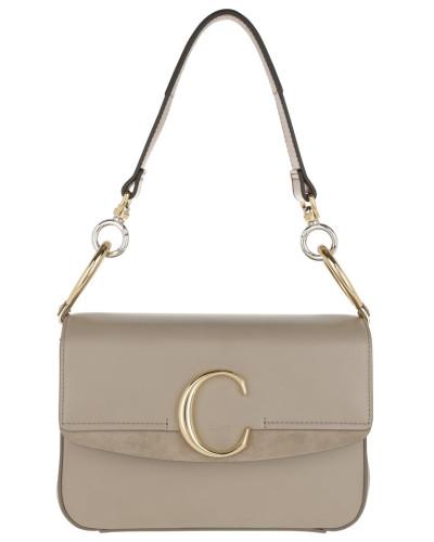 Umhängetasche Double Carry Small Shoulder Bag Leather Motty Grey grau