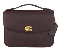 Satchel Bag Polished Pebbled Leather Cassie Crossbody Oxblood
