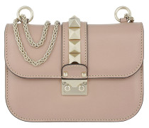 Rockstud Lock Shoulder Bag Small Poudre rosa