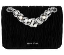 Velluto Matelassé Umhängetasche Bag Cristal+Pearls Nero silber