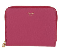 Portemonnaie Compact Zipped Wallet Grained Leather Pink