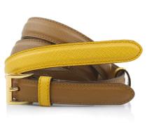 Kleinleder - Slim Saffiano Belt Cognac Mustard