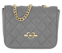 Borsa Nappa Pu Quilted Small Shoulder Bag Grigio