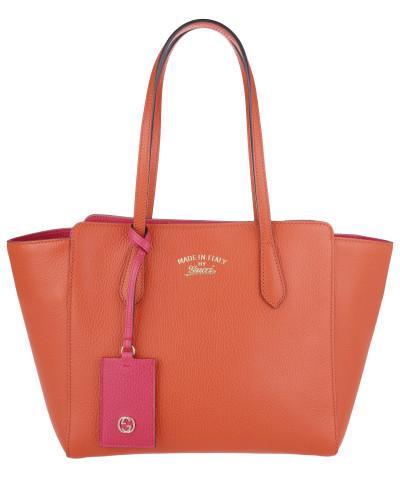 gucci damen gucci tasche swing leather shopping bag bicolor orange fuchsia in orange. Black Bedroom Furniture Sets. Home Design Ideas