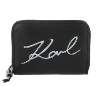 K/Metal Signature Small Wallet Black/White Portemonnaie weiß