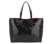 Logo Embossed Patent Shopping Bag Nero