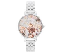 Uhr Watch Marble Florals Silver
