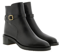 Boots Buckle Ankle Leather Black
