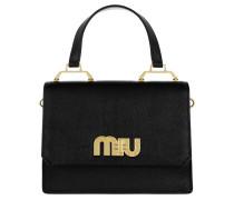 Madras Logo Embellished Handle Bag Black Umhängetasche