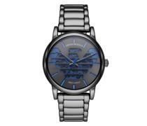 Uhr Three-Hand Gunmetal Stainless Steel Watch