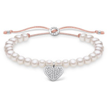 Armband Bracelet Heart Pearl White