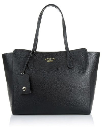 gucci damen gucci tasche leather shopper swing bag black in schwarz aus glattleder. Black Bedroom Furniture Sets. Home Design Ideas