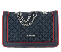 Denim Quilted Umhängetasche Bag Navy/Rosso rot