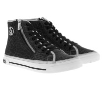 High-Top Lamé Lace Sneakers Silver Sneakerss