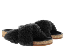 Kerenn Flat Shearling Mule Black Sandalen