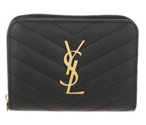Portemonnaie Monogram Compact Wallet Embossed Leather Black