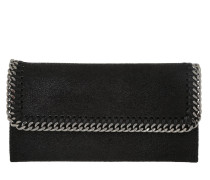Continental Flap Wallet Shaggy Deer Black Clutch