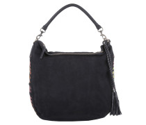 Tasche - Niva Hobo Bag Embroidery/Suede Leather Black