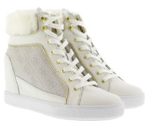 Sneakers - Fur Wedge Sneaker Suede White