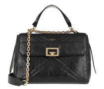 Satchel Bag ID Medium Crackling Leather Black