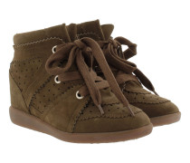 Bobby Suede Wedge Heel Trainers Brown Sneakers