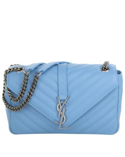 saint laurent damen saint laurent tasche monogramme medium chain shoulder bag blue in blau. Black Bedroom Furniture Sets. Home Design Ideas