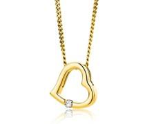 Halskette 18KT 0.01ct Diamond Heart Necklace