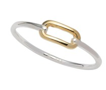 Ring Sterling Silver Two Tone Link