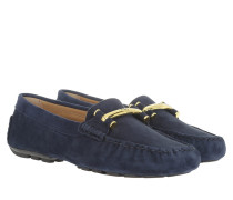 Caliana Suede Loafers Modern Navy Schuhe