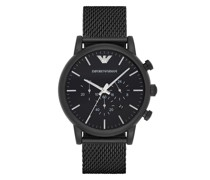 Uhr Chronograph Stainless Steel Mesh Watch Black