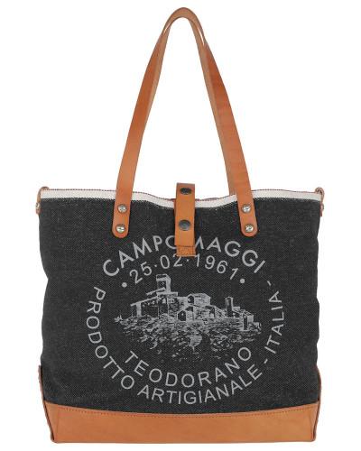 Campomaggi Damen Shopp. L. Handled Jeans/Cow Blu+Naturale+St.Grigia Tasche